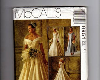 mccalls 6951, wedding dress, bridesmaid dress, bridal gown, wedding patern, bridesmaid pattern, bridal pattern, uc ff, size 20