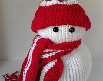 Hand Knitted Sooner Inspired Snowman