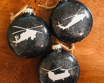 Helicopter Glitter Ornament