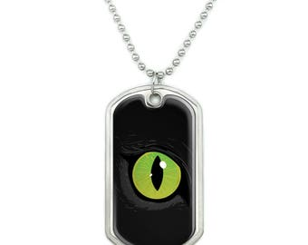 Cat Green Eye Military Dog Tag Pendant Necklace with Chain