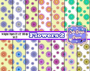Flowers Digital Papers 12x12, for Printables party, sticker, scrap books
