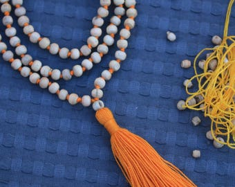 Tulsi Mala round shap Beads - Handmade knotted tulsi holy Basil Mala necklace- yoga meditation japa Mala - krishna Prayer Beads Mala