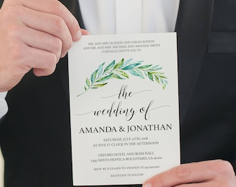 Greenery Wedding Invitation Printable - Wedding Invitation Template- Leaves - Rustic Wedding Invitation - Downloadable wedding #WDH987GR
