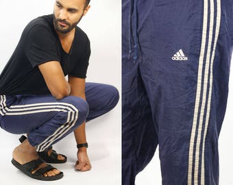 ADIDAS Track Pants / Adidas Joggers / Adidas Track Suit Pants / Vintage Adidas Pants / 90s Adidas Pants / Blue Adidas Pants / Track Pants