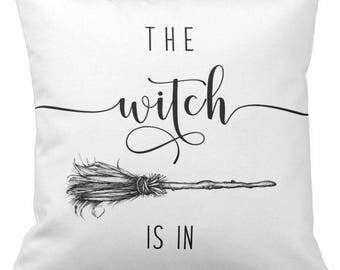 "Halloween Pillow Cover WITH Insert, ""The Witch Is In"", Throw Pillow, Accent Pillow, Halloween Decor, 16"" X 16"", Ready to Ship"