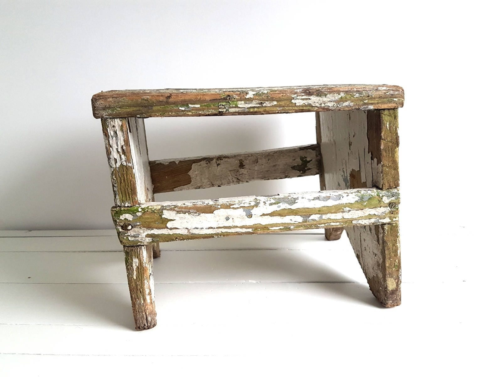 Vintage Farmhouse Wooden Step Stool Rustic Kitchen Step
