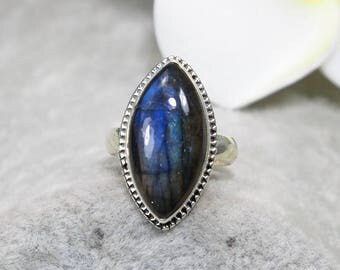 Natural Top Quality Blue Fire Labradorite Vintage 925 Sterling Silver Ring, Genuine Ring, Birthday and holiday Gift, US Size 6 1/2 ,J433