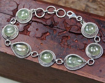 "Green Prehnite Bracelet, 925 Sterling Silver,Genuine Natural Prehnite Jewelry,Gift for her,Fine jewelry Party Birthday Gift 8"" S1126"