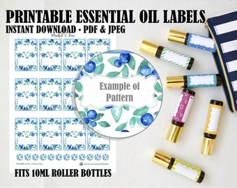 Printable Essential Oil Labels - 10ml Rollerball Labels Blueberry Pattern