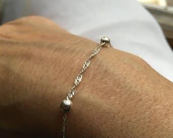 ON SALE Vintage .925 Sterling Silver Spiral Twist Chain With Ball Italian Women's Bracelet