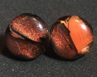Orange Ember Glass Stud Earrings