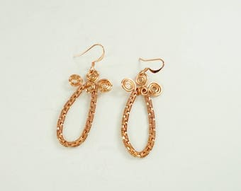 Copper Wire Weave Earrings