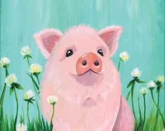 11x14 Baby Piglet - Vertical Print - Children's - Nursery Art