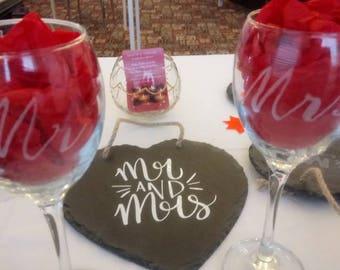 Mr & Mrs Wine Glasses