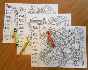 Hidden pictures coloring pages