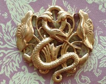 Serpent Stamping(1pc)Snake Pendant/Floral Stamping/Snake Stamping/Vintage Brass Stamping/vintage charms/Vintage brass Snake casting