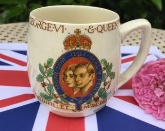 Souvenir Coronation Mug King George VI & Queen Elizabeth  1937, official design, coronation china, Royal Family, memorabilia