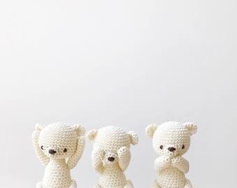 Three wise tiny BEARS - see no evil, speak no evil, hear no evil - crochet bear, amigurumi bear, birthday gift, bear gift