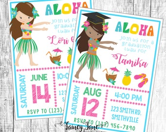 Luau Party Invitation Graduation Birthday