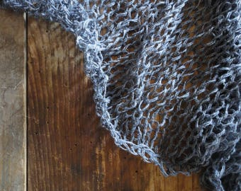knitted linen SHAWL / WRAP in natural, grey, blue or some other color