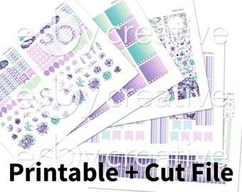 Frost + Flowers Watercolor - Weekly Sticker Kit Printable for Erin Condren Horizontal - HWK-054 - INSTANT DOWNLOAD