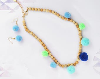 Blue Pom Pom Necklace