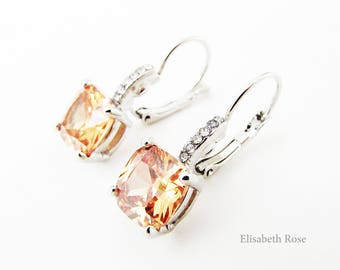 Blush Earrings, Blush Crystal Earrings, Peach and Silver Earrings, Square Blush Crystal Earrings, Champagne Swarovski Earrings