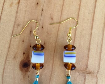 Beads and Squares Earrings