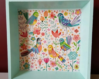 Tray birds 20 X 20 cm - wood, green, pink, towel