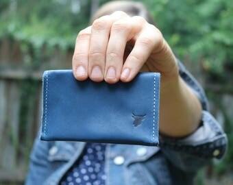 Business Card Case/ Business Card Wallet / Leather Wallet / Blue Wallet / Made in USA / Card Wallet / Small Wallet