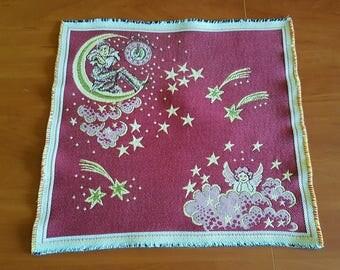 Two vintage multicolor square cotton woven serviettes / table-napkins / doilies, home decoration for Christmas