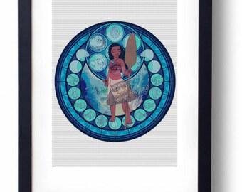 Moana (Vaiana) Stained Glass Disney Maui Heihei Pua (Cross stitch embroidery pattern pdf)