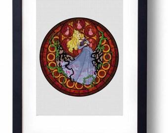 Princess Aurora Sleeping Beauty Stained Glass Disney (Cross stitch embroidery pattern pdf)