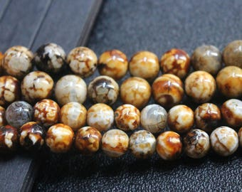 Leopardskin  Agate Beads 10mm 12mm 14mm Smooth and Round Beads,15 inches one strand