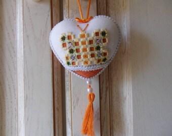ornamental heart hanging (orange color)