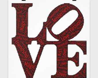 """LOVE  POSTER! 16"""" x 16"""" Poster I Love You Engagement Wedding Anniversary Wall Art Bedroom Office Decor College Dorm Decoration"""