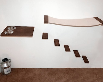 Cat Furniture Set Hammock Feeder And 5 Steps Shelves Wall Mounted