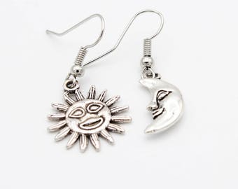 Silver Tone Sun and Moon Earrings