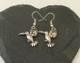 Hummingbird earrings / hummingbird jewellery / animal earrings / animal jewellery / animal lover gift