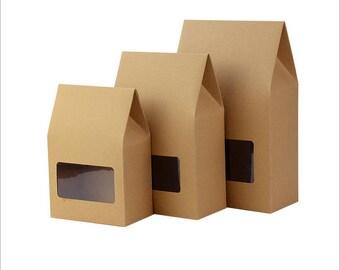 30pcs 12.5*7*19CM Kraft paper window simple folding tea packing box