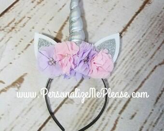 Unicorn Headband, Silver Pink and Purple.