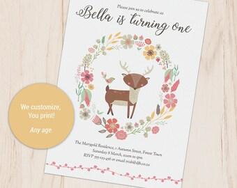 Woodland Invite, Woodland Deer and Flower Invitation