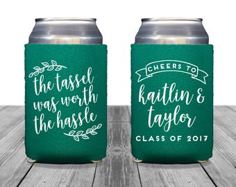 Graduation Can Coolers, Personalized Coolies, Bachelor Party, Neoprene, Tailgate, Beer Huggers, Graduation Coolies, Class of 2017, 1313
