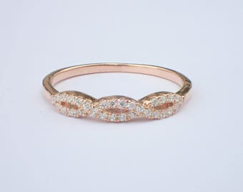 infinity band. rose gold infinity band, triple ring, diamond pave infinity, bridal eternity ring band