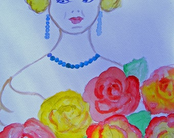 WOMAN WITH FLOWERS ORIGINAL WATERCOLOR-