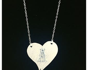 Sterling silver heart alphabet with fresh water pearl necklace, 925 sterling silver heart with alphabet, Valentine Gift