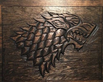 Hand Carved Wooden Stark Direwolf Game of Thrones