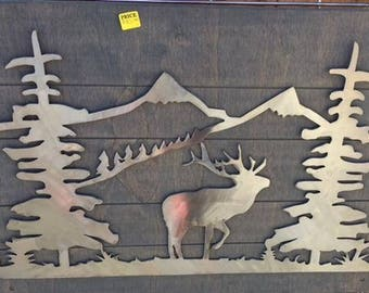 Elk metal cutout sign