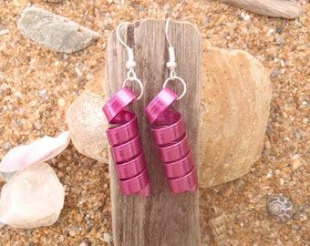 Pink fuschia aluminum flat wire earrings