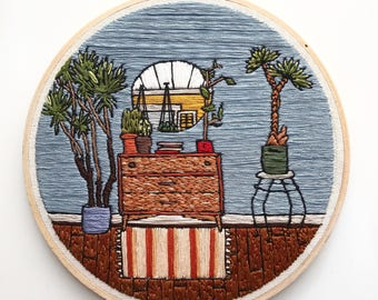 House Plant Scene Hand Embroidery Wall Art 7""